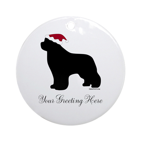 Newf Santa - Your Text Ornament (Round)
