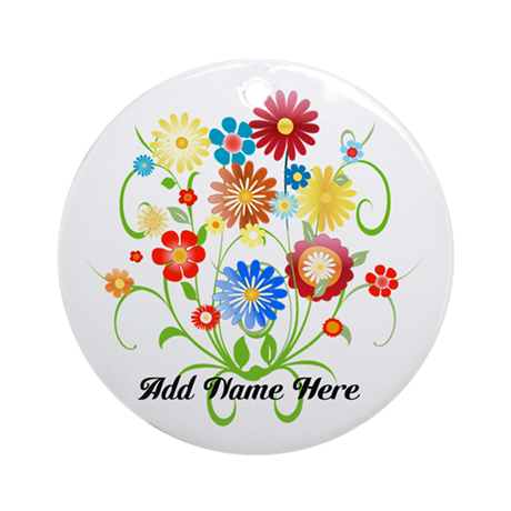 Personalized floral light Ornament (Round)