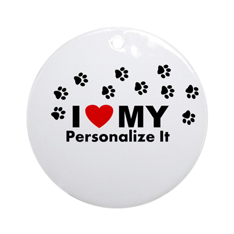 Personalized I Love My Pet Ornament (Round)