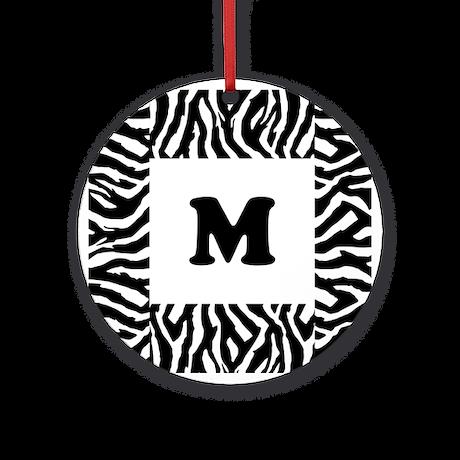 Zebra Print. Custom Letter. Ornament (Round)