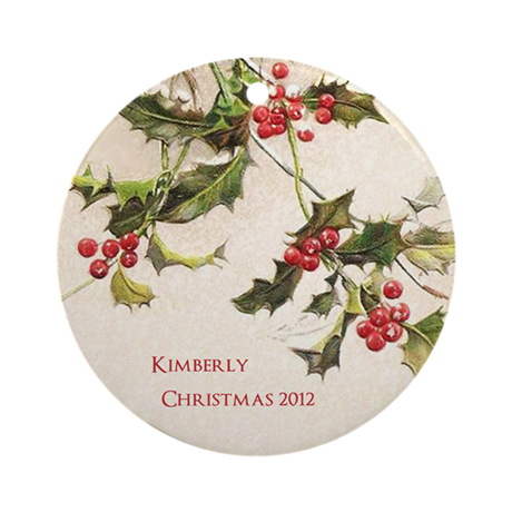 Vintage Holly Personalized Ornament