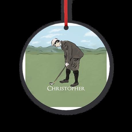 Personalized vintage golf scene Ornament (Round)