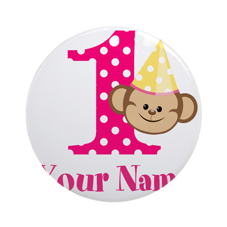 Personalizable Monkey Girl First Birthday Ornament
