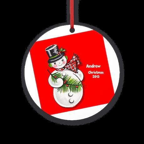 Personalized Retro Vintage Snowman Ornament