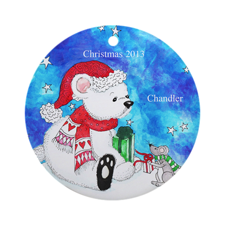 Personalized Polar Bear and Mouse Ornament