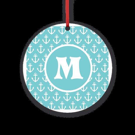 Personalized Anchor Monogram Aqua Ornament (Round)