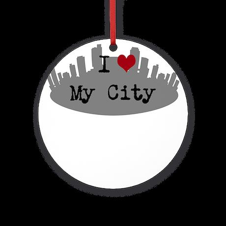 Customizable I Heart City Ornament (Round)