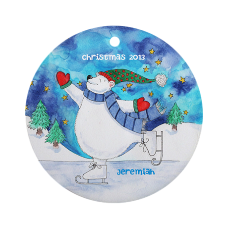 Personalized Polar Bear Skating Ornament