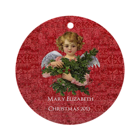 Personalized Victorian Angel with Holly Ornament