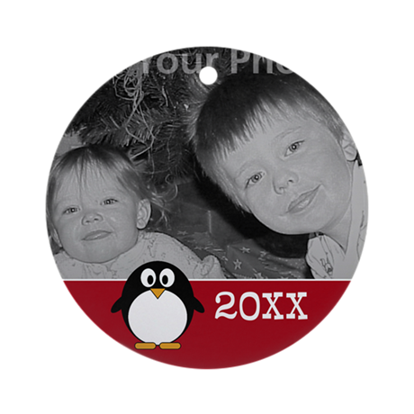 Cute Penguin Custom Text Red Ornament (Round)