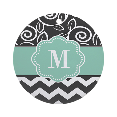 Gray Blue Chevron Scroll Monogram Ornament (Round)