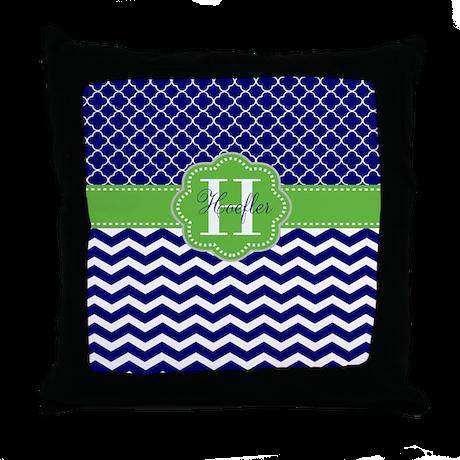 Lime Green Chevron Throw Pillow : Navy Lime Green Chevron Personalized Throw Pillow by CupcakesandSprinklesBirthdayTees