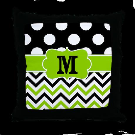 Lime Green Chevron Throw Pillow : Black Lime Green Chevron Monogram Throw Pillow by CupcakesandSprinklesBirthdayTees