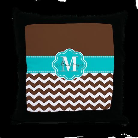Brown Teal Chevron Personalized Throw Pillow by CupcakesandSprinklesBirthdayTees