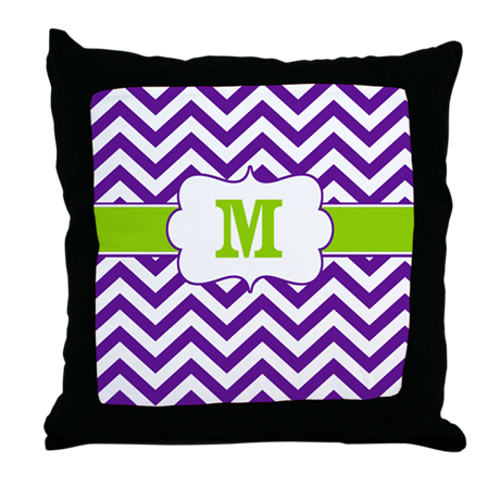 Purple Green Throw Pillow : Purple Green Chevron Monogram Throw Pillow by CupcakesandSprinklesBirthdayTees