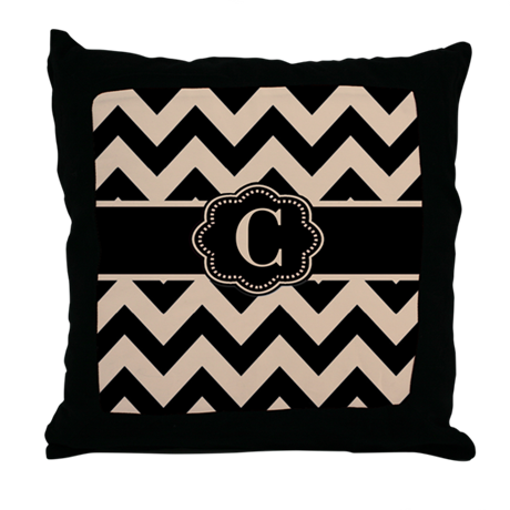 Beige Black Chevron Monogram Throw Pillow