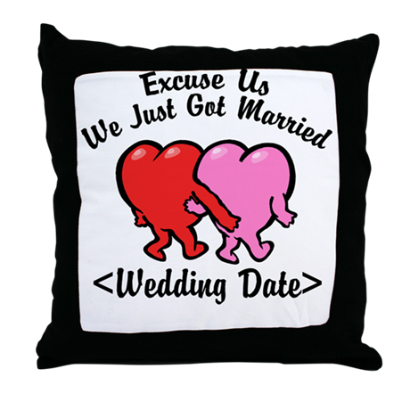 Funny Just Married (Add Wedding Date) Throw Pillow