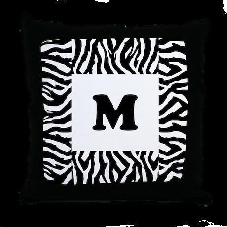 Zebra Print. Custom Letter. Throw Pillow