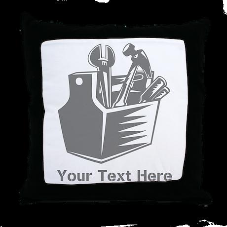 Tool box. Custom Text. Throw Pillow