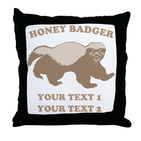Personalize Honey Badger Throw Pillow