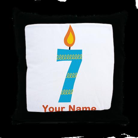 Custom 7th Birthday Candle Throw Pillow