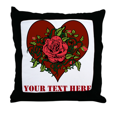 Red Roses, Heart and Text. Throw Pillow