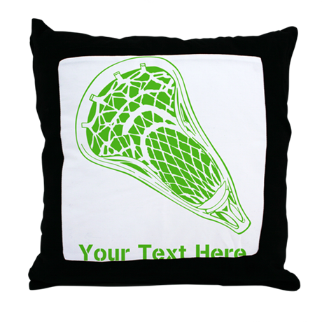 Lacrosse Crosse. Green Text. Throw Pillow