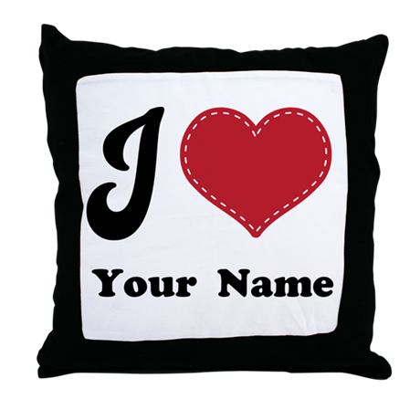 Personalized Red Heart Throw Pillow