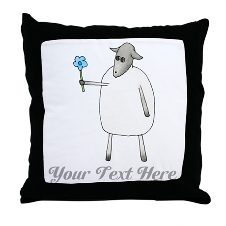 Sheep and Custom Text. Throw Pillow