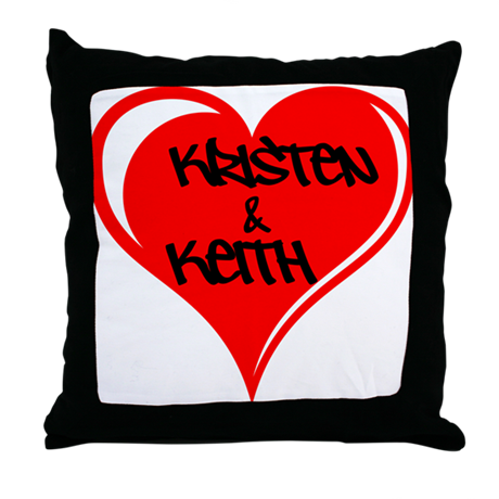 Personalized with names Valentines day heart Throw
