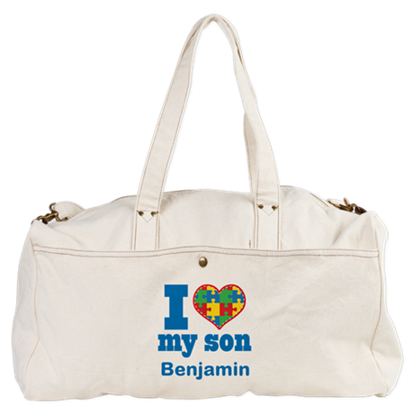 Personalized Autism Son heart Duffel Bag