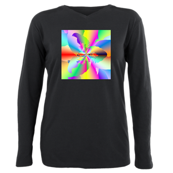 Fractal Fire Flower Plus Size Long Sleeve Tee
