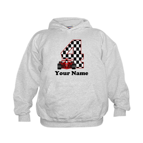 4th Birthday Race Car Kids Hoodie