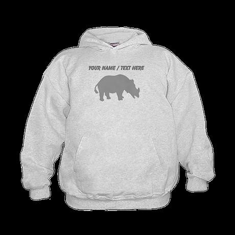 Personalized Grey Rhino Silhouette Hoodie