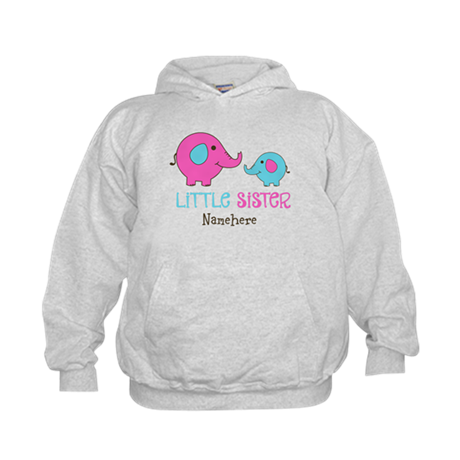 Little Sister Elephant Personalized Kids Hoodie