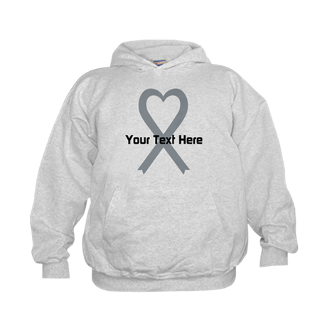 Personalized Gray Ribbon Heart Kids Hoodie