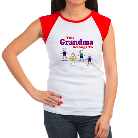Personalized Grandma 4 kids Women's Cap Sleeve T-S
