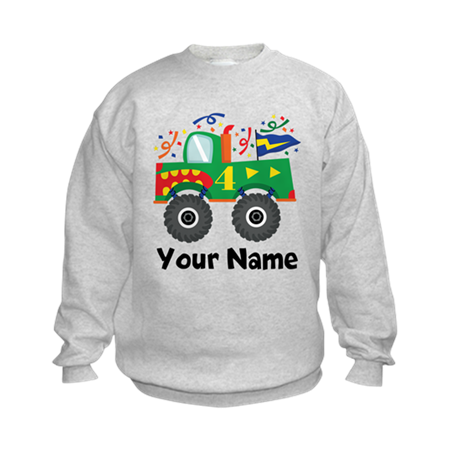 Personalized 4th Birthday Monster Truck Kids Sweat
