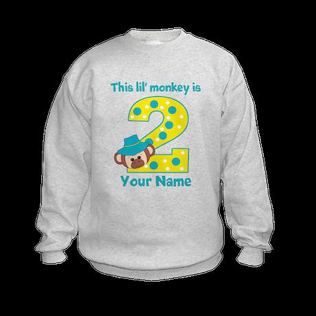 2nd Birthday Monkey Boy Kids Sweatshirt