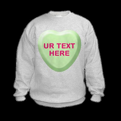 Lime Candy Heart Personalized Kids Sweatshirt