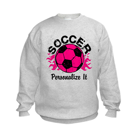 Personalized Soccer Flames Kids Sweatshirt