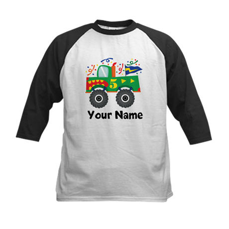Personalized 5th Birthday Monster Truck Kids Baseb