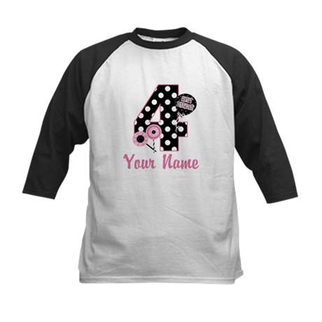 4th Birthday Pink Black Dot Baseball Jersey