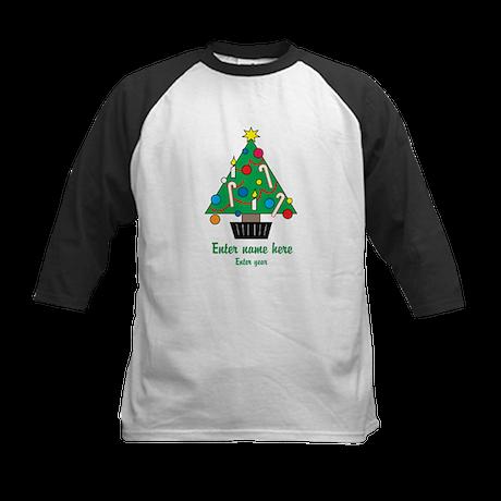 Personalized Christmas Tree Kids Baseball Jersey