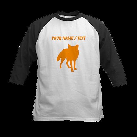 Custom Orange Fox Silhouette Baseball Jersey