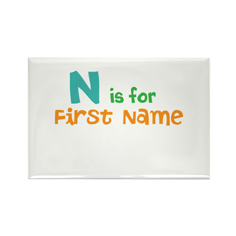 """Baby's Name and Initial Here"" Rectangle Magnet"