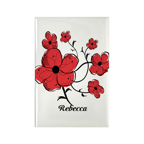 Personalized Modern Red and Black Floral Design Re