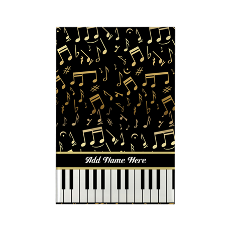 Personalized Piano keys and gold musical notes Rec