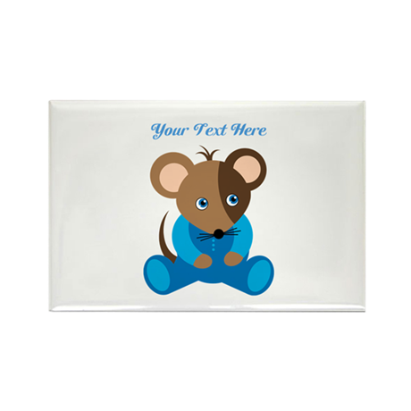Baby Boy Mouse Blue Sleeper Rectangle Magnet (10 p