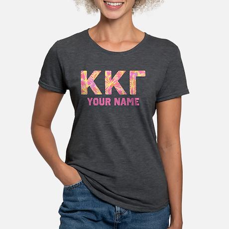 Kappa Kappa Gamma Pink Floral Tri-Blend T-shirt